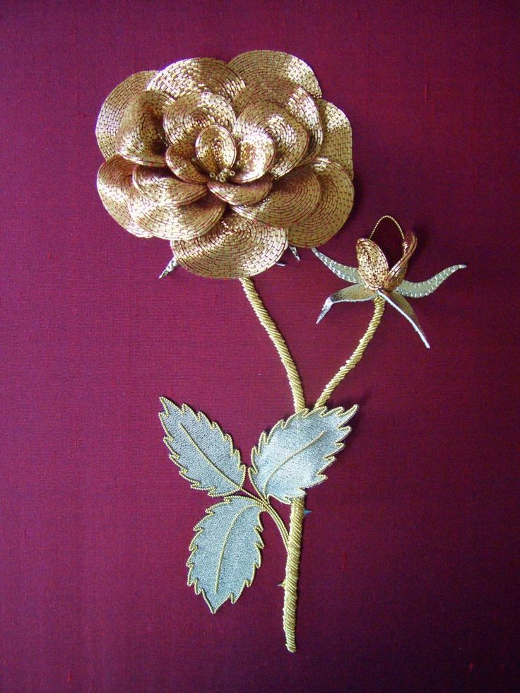Golden Rose ~ an Or Nue dimensional goldwork kit ~ available from Alison Cole Embroidery