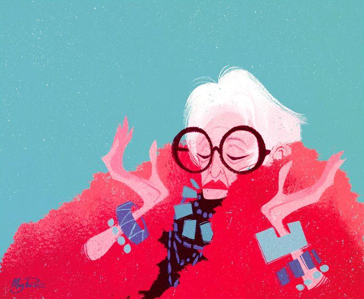Meg Park (one of my favourite illustrators!) finally does a fashion image; Iris Apfel! So happy!