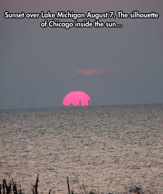 City Silhouette Inside The Sun