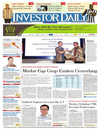 Investor Daily - 10 Agustus 2016 | Market Cap Grup Emiten Cemerlang | Investor Daily