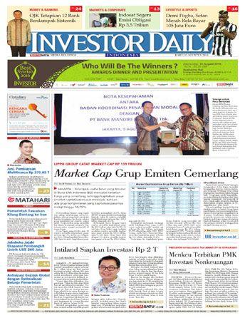 Investor Daily - 10 Agustus 2016 | Market Cap Grup Emiten Cemerlang | Investor Daily