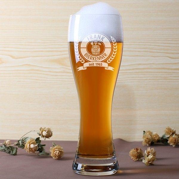 Leonardo Weizenbierglas mit Gravur Bierkenner