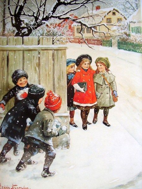 """By Swedish artist, Jenny Nystrom. Reminds me of a scene in """"A Christmas Story""""!:"""