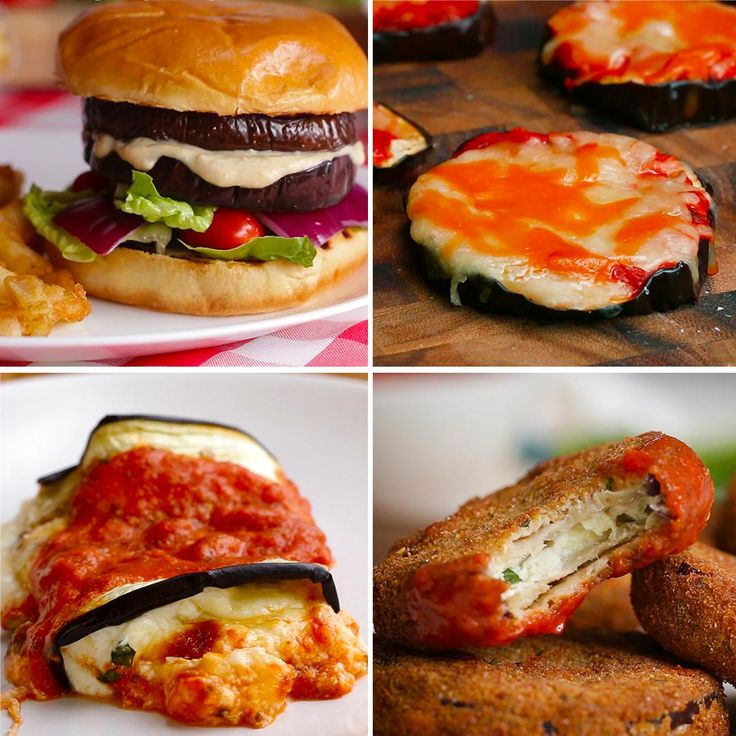 Eggplant Dinners 4 Ways by Tasty - just switch out dairy for non-dairy plant based products