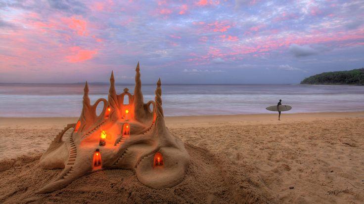 пляж, песочный замок, свечи, песок, Море