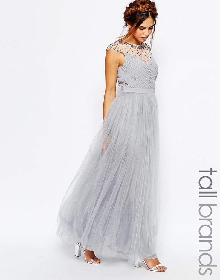 Little Mistress Tall Ruched Bodice Maxi Dress With Pleated Tulle Skirt