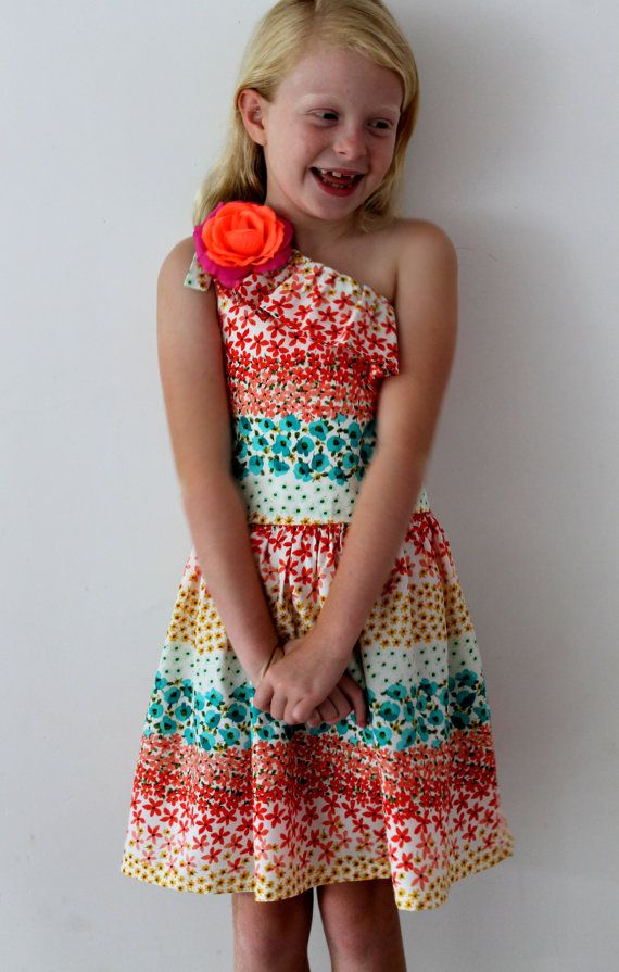 Floral Brights Asymetric Dress by HullabalooKids on Etsy, $38.00