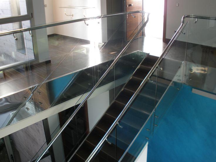 Barandilla de escalera en cristal y acero tenerife - Barandilla cristal escalera ...