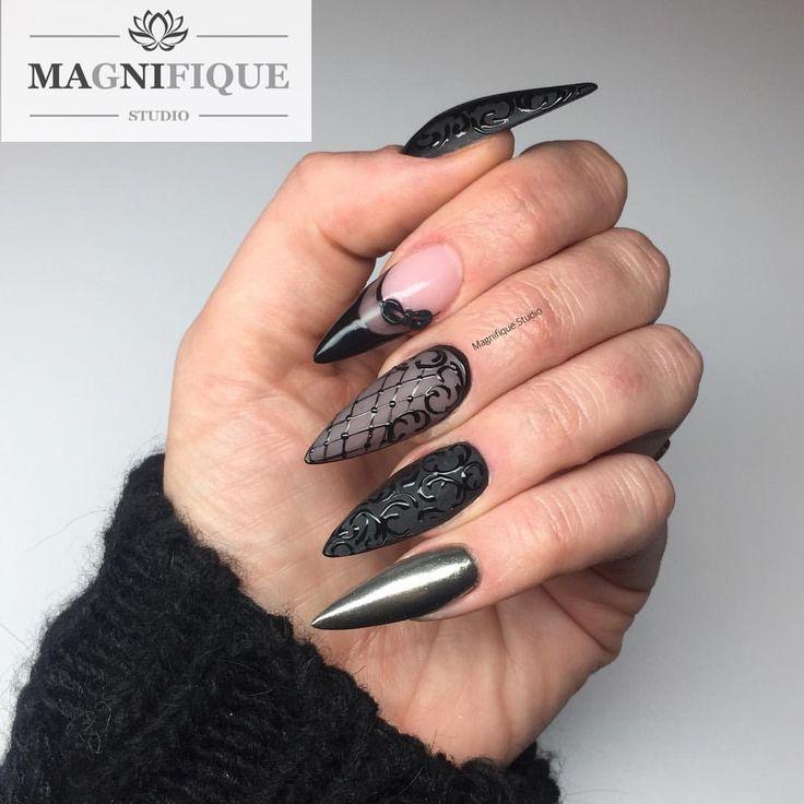 Black nails czarne paznokcie Nägel schwarz Nail Art Design Sieh dir dieses Instagram-Foto von @magnifique_studio_nails an • Gefällt 31 Mal