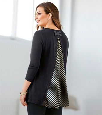 Jersey mujer manga 3/4 tricot con satén Tallas grandes 6A Venca