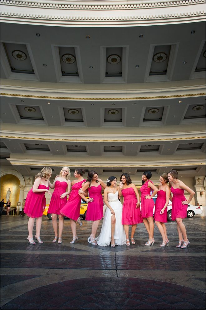 City Wedding #Hot #Pink #Bridesmaids ♥ For an easy-to-follow 'Wedding Planning Guide' ... https://itunes.apple.com/us/app/the-gold-wedding-planner/id498112599?ls=1=8 ♥ For more wedding inspiration ... http://pinterest.com/groomsandbrides/boards/ & magical wedding ideas.