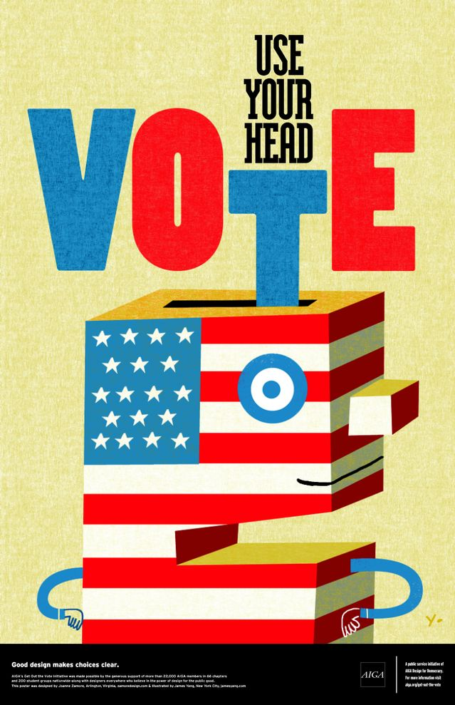 Use Your Head—VOTE Designed by Joanne Zamore & illustrated by James Yang @AIGADC #GOTV