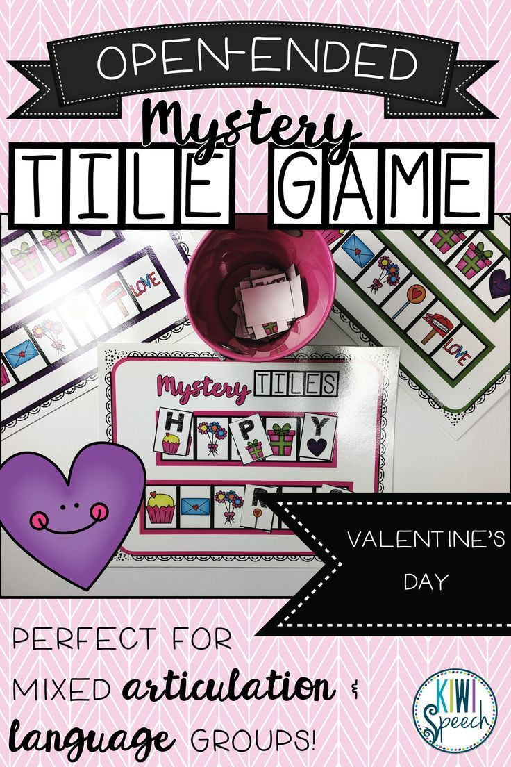 Open-Ended Mystery Tile Game: Seasonal/Themed Activity: Valentine's Day.  Perfect for mixed articulation and language groups. Can be used with any targets you want.  Kiwi Speech on Teachers Pay Teachers. TPT Digital Download. Speech Therapy Resources. Speech/Language. Speech Therapist.