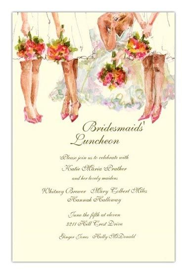 Bridesmaids Luncheon Invitations Divine Hostess