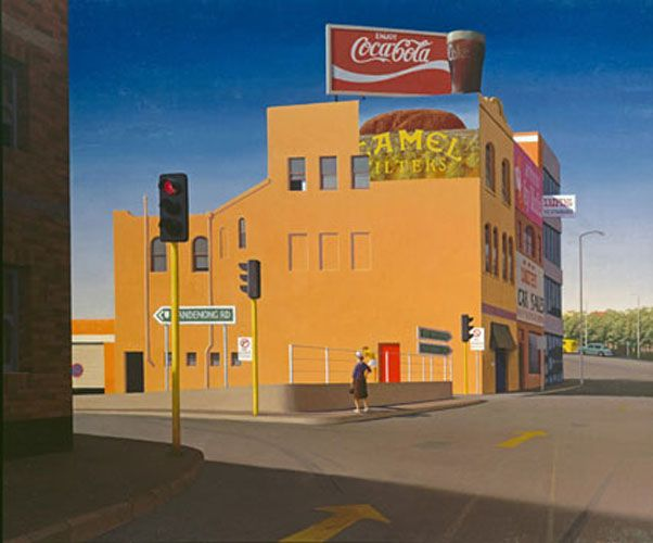 Turn off to Dandenong- Jeffery Smart. Frank Jeffrey Edson Smart, AO (26 July 1921 – 20 June 2013) was an expatriate Australian painter known for his precisionist depictions of urban landscapes.