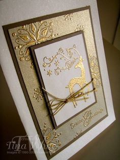 handmade Christmas card ... Gold Dasher by Tina White ...elegant look with formal matted rectangles ... luv the gold embossing on brushed gold paper ... gorgeous!! ... Stampin' Up!