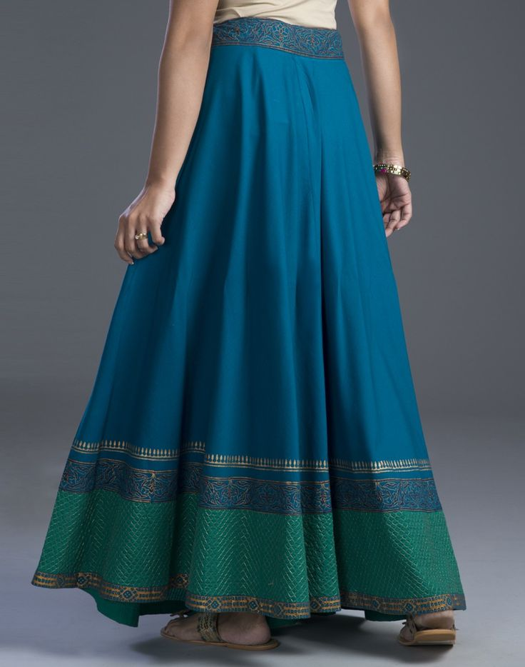 Get traditionally stylish with this flared skirt.  Cotton Drawstring Waist Tie Up Wash Separately in Cold Water Fabindia Exclusive