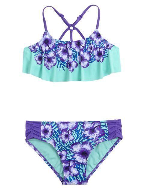 Floral Flounce Bikini Swimsuit