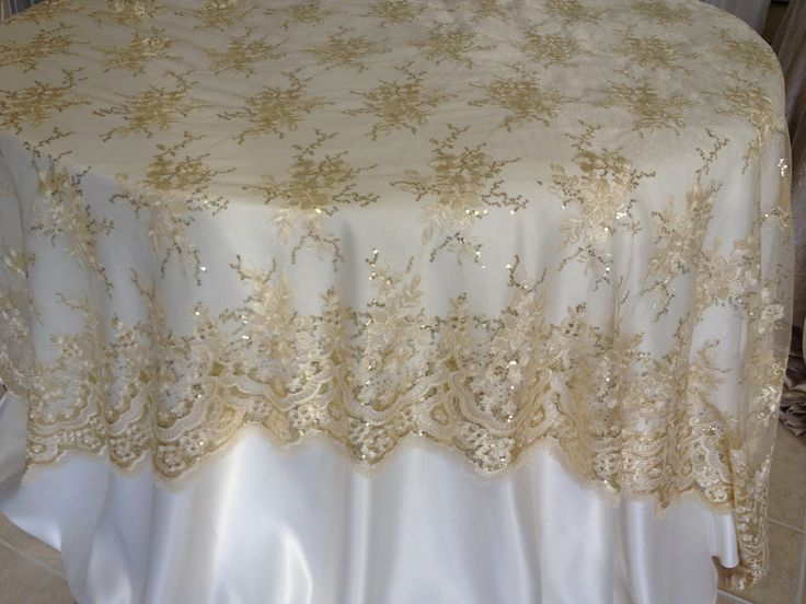 Champagne Lace Overlay Wedding Decor Linens And Beyond Pinterest Lace Overlays And Wedding