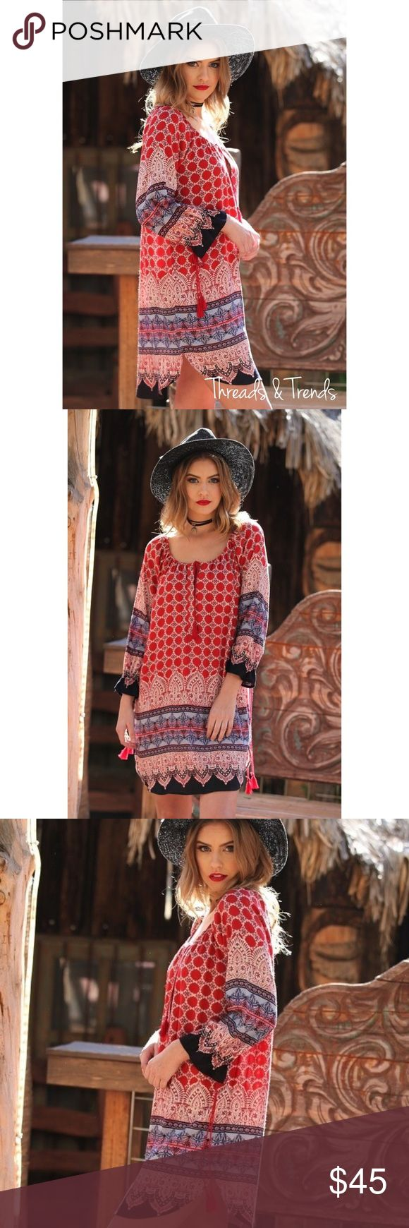 Crimson Red Tunic Dress Stunning crimson red Tunic dress. Featuring drawstring neckline and tassel tie detail down the sides. Super comfortable, pair with leggings or wear as a dress. Size S/M, M/L, L/XL Threads & Trends Dresses