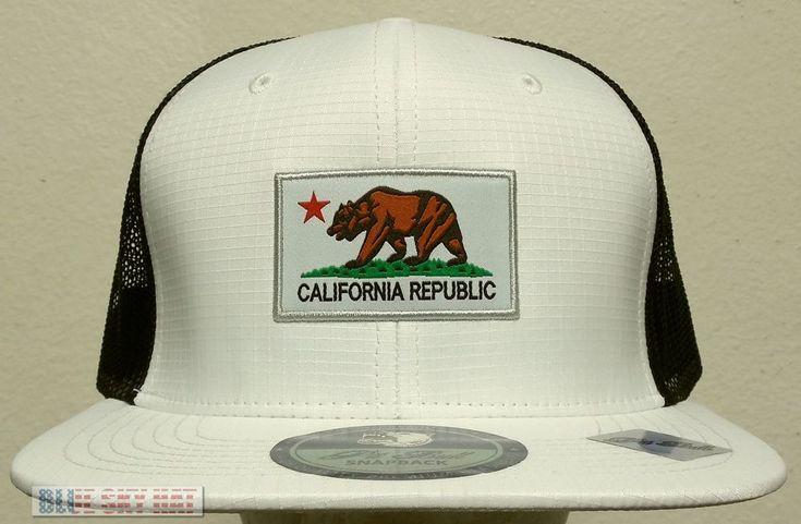 PATCH CA CALI CALIFORNIA REPUBLIC FLAG BEAR TRUCKER MESH CAP HAT SNAPBACK WHITE #HIGHPREMIUMHATS #BaseballCap