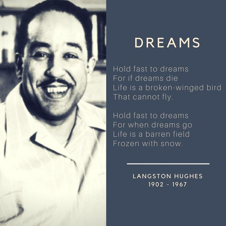 Today is #BlackPoetryDay. I love this #poem by #LangstonHughes about the importance of dreaming.  He was a voice of the African American worker whose poetry reflected his dream for race equality.  Poetry is a peaceful and powerful way to protest injustice.⠀  📖⠀  Fun Fact: We celebrate on this day in honor of the first published black poet in the US who was born today in 1711, Jupiter Hammon.⠀