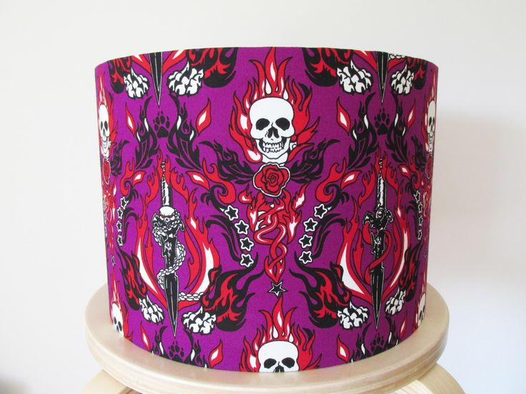 Handmade lampshade in a purple skulls novelty fabric by Candidowl on Etsy