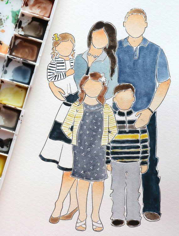 5 Person Watercolor Portrait In 2020 Watercolor Portraits