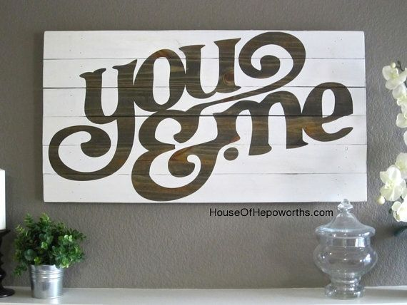 You & Me distressed vintage style custom made by houseofhepworths