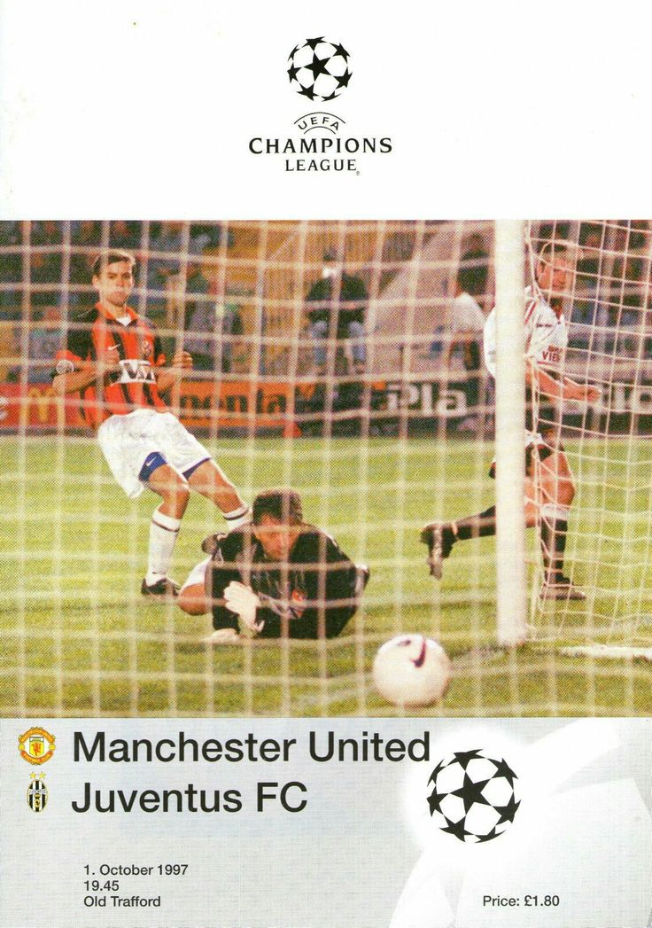 Man Utd 3 Juventus 2 in Oct 1997 at Old Trafford. Programme cover for the Champions League, Group B game.