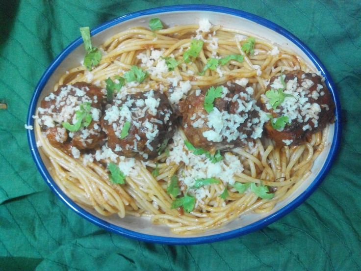Spaghetti and chiballs with an Indian twist Recipe. Another week .. The weather around Kolkata is unpredictable. Sister came home this weekend (she stays at ...