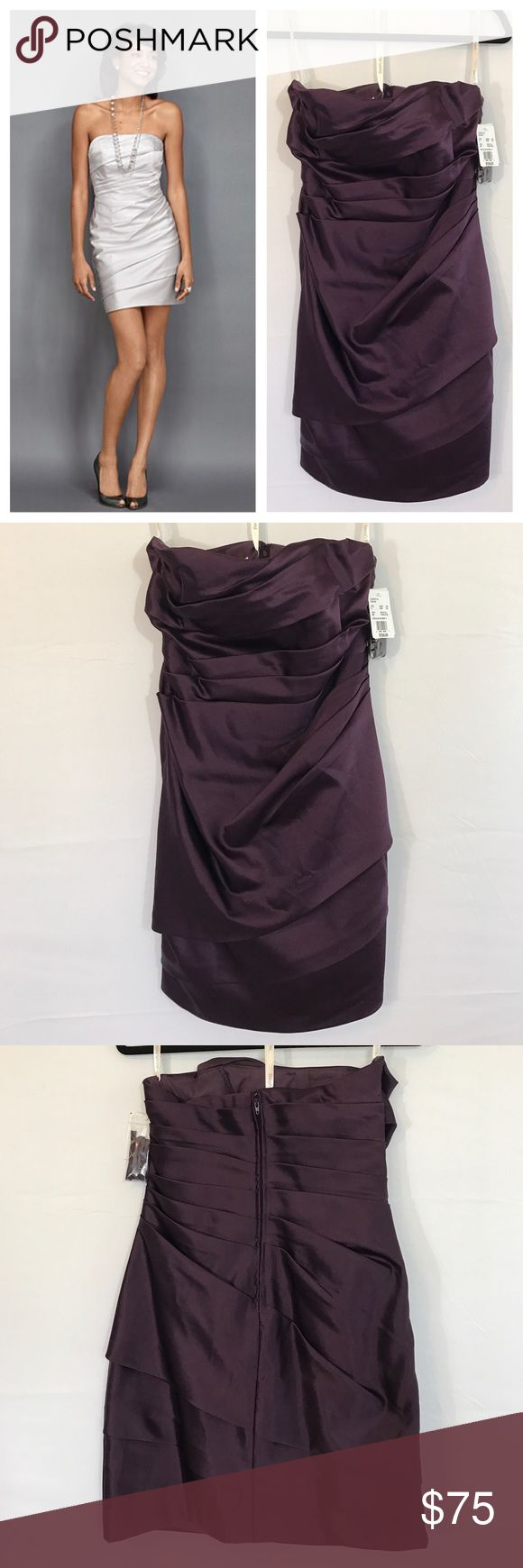 """David's Bridal-Plum-STRPLS SATIN SHORT Dress This is a beautiful dark purple dress!  Across the back from armpit to armpit measures approx. 16 1/2"""".  The total length is approx. 25"""". David's Bridal Dresses Mini"""