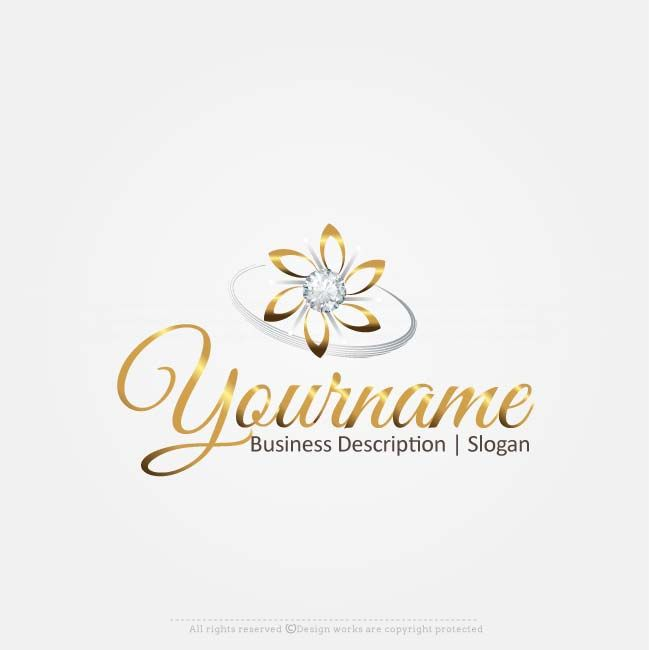 Gold Flower logo design for sale online Ready made Diamonds Gold Flowerlogo design suitable for branding a Jewelry Designbrand, Fashion Label, Retail store brandetc.  Make a logo design with our free logo maker Use the bestlogo design software to create your own designs. In real time, use thediamond logo creator tochange your business name, colors, fontsand much more. Not