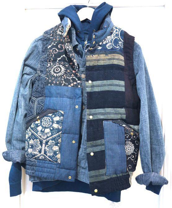 деталей мужской одежды - все в стиле пэчворк из джинсы