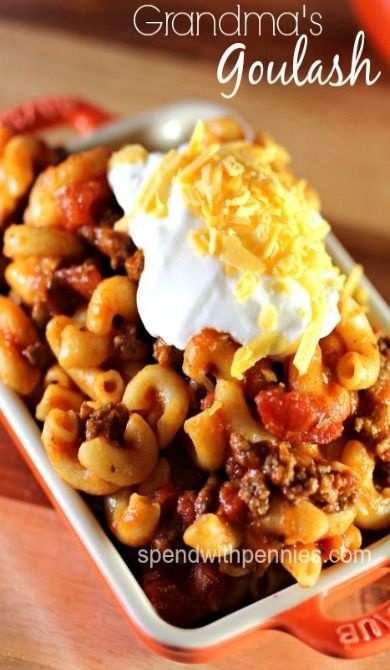 Grandma's Goulash-Spend With Pennies. I love this recipe; it's so easy and always delicious!! ((Maybe use ground turkey!))