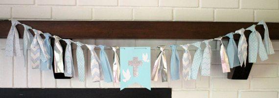 Baptism Banner, Cross Banner, Blue Silver Baptism Banner, Christening Decoration, Boy Baptism, Boy Baptism Banner, Boy Baptism Decoration