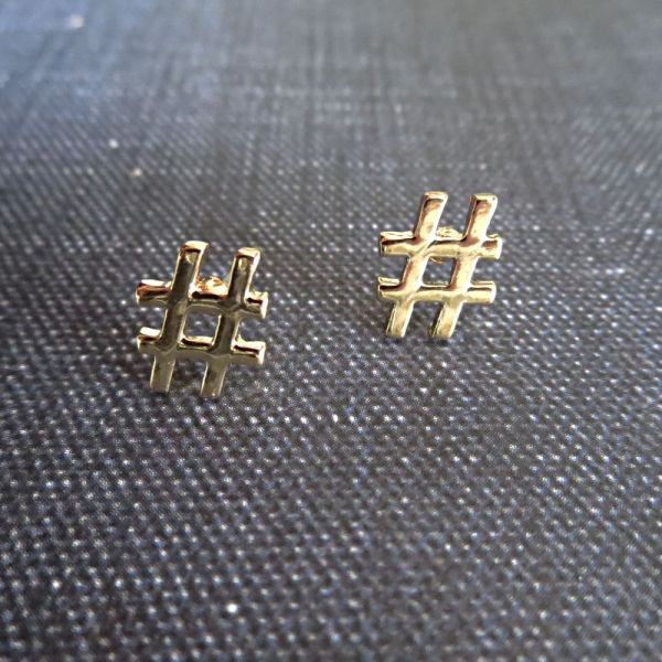 Small gold plated hashtag stud earrings. Under $20. Perfect for gifting. Trendy. Fun.