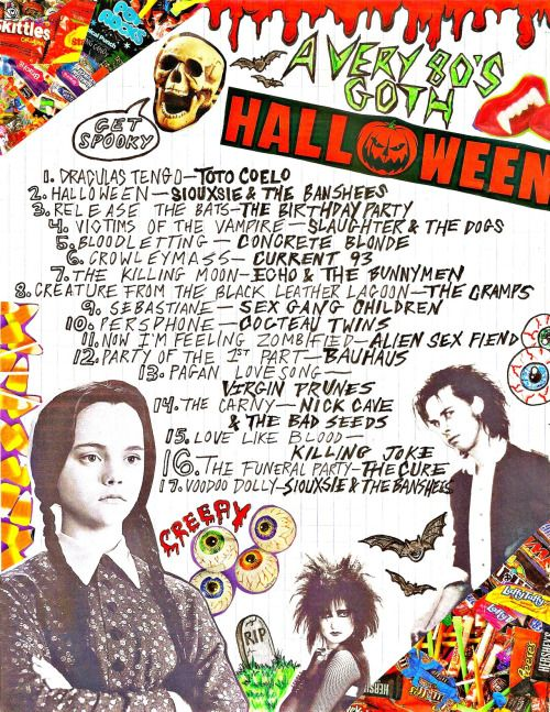 "80s goth halloween mixtape !! ive made a ton of halloween mixtapes before but i always use the same songs so this year i wanted to do something different. not all of the songs are ""halloween""; but they're all creepy & i put spooky sound effects between songs so yeah i think its cool. listen to it on 8tracks here !! 
