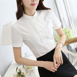 Discount korean blouse chiffon new style Women Blouses New Arrival Fashion 2016 Korean Style Short Sleeve Chiffon Ladies Office Shirt White Tops Formal 6042