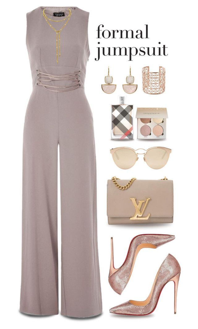 """""""One and done: jumpsuits"""" by stephanielee4 ❤ liked on Polyvore featuring Topshop, Christian Louboutin, Louis Vuitton, Christian Dior, Burberry, Co.Ro, fashionset and oneanddone"""