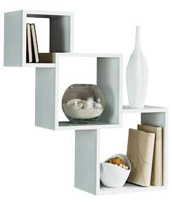 Art Exhibition High Gloss Geometric Cube Shelves White