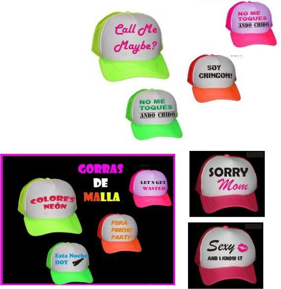gorras en colores neon