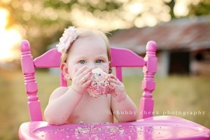 Chubby Cheek PhotographyChubby Cheek, Photos Ideas, Bright Pink, 1St Birthday, Cake Smash, Cheek Photography, Smash Cake, High Chairs, Bright Colors