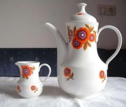 KAHLA made in GDR - Kaffeekanne, Milchkanne und Vorlageteller 60/70 er Jahre