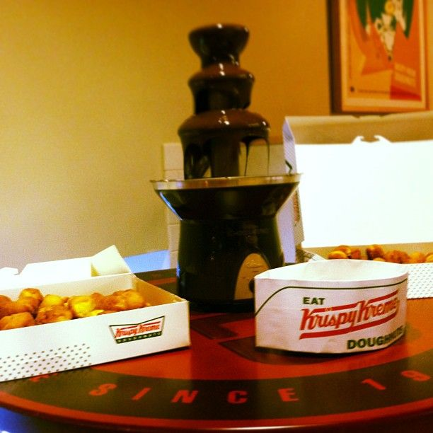 Bloggers enjoyed a chocolate fountain for dipping Krispy Kreme