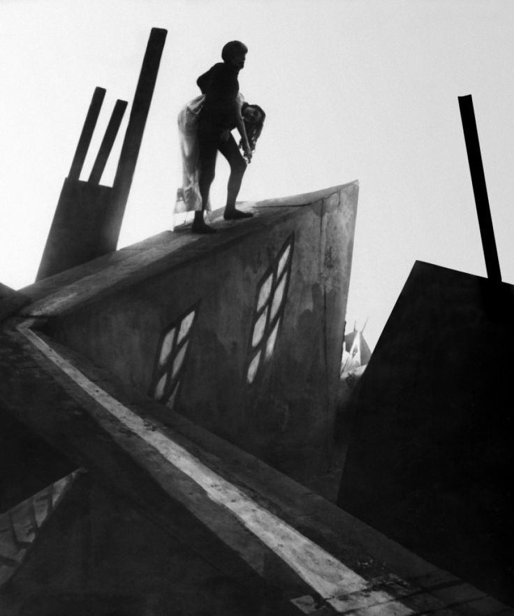 Cesare carrying Jane in The Cabinet of Dr. Caligari (1920). The inspiration for Tim Burton's art direction.