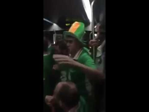 Irish fans Singing Lullabies to French baby on Bordeaux Tram Euro 2016 Ireland fans Supporters - YouTube