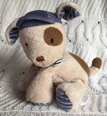carters plush brown tan barking dog blue hat stripes