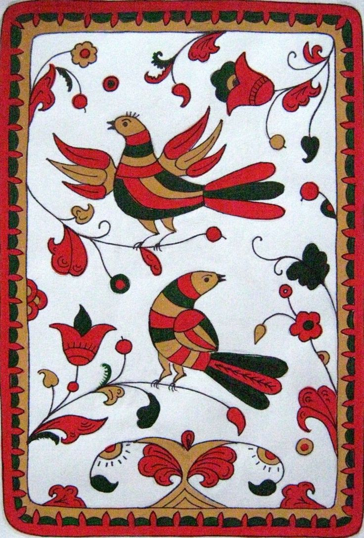 Folk Mezen painting from Northern Russia. Floral pattern with two birds.