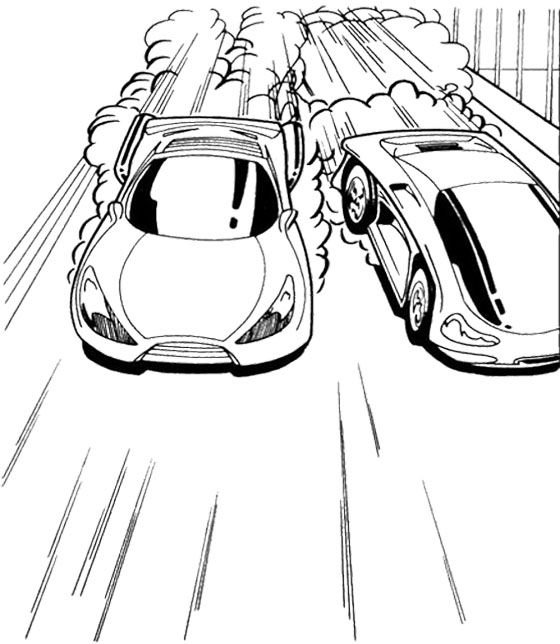 Cars 2 Coloring Pages: Track Race Two Car Hot Wheels Coloring Page